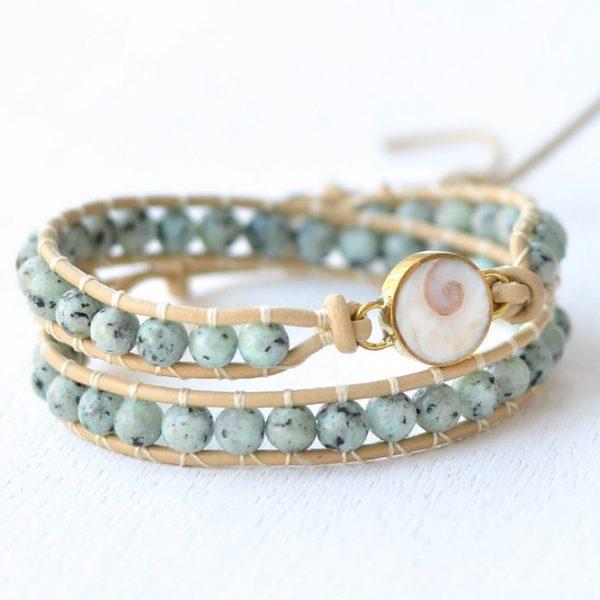 Shimmy Bracelet - Moana Creme Leather Wrap Bracelet