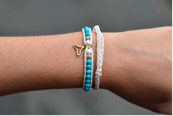 Shimmy Bracelets Blue Whale Tail Double Bracelet