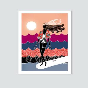 Lizzy Artwork, Japan Dancer, Surf Art, Surf Illustration, Lizzy Artwork